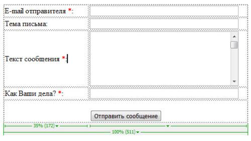 шаблона формы обратной связи на сайтах uCoz