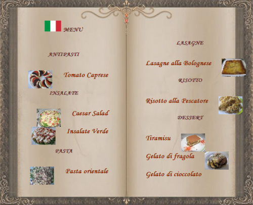 кулинарное меню